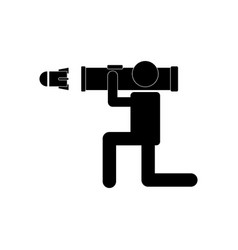 Black icon on white background anti tank rocket vector