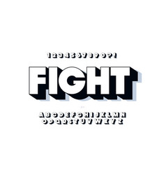 bold font 3d black white style vector image