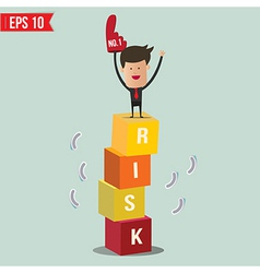 Businessman stand on risk block - - EPS10 vector image