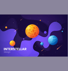 Cartoon galaxy futuristic outer space background vector