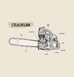 Chainsaw - petrol chain saw hand draw sketch vector