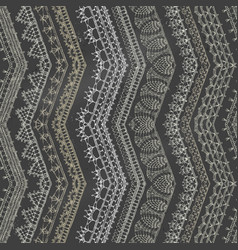 Chalk zigzag crochet seamless pattern vector