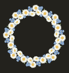 chamomile and forget me-not-flowers pattern vector image