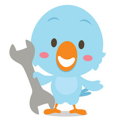 Character blue bird with tools vector