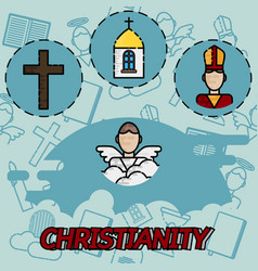 Christianity flat concept icons vector
