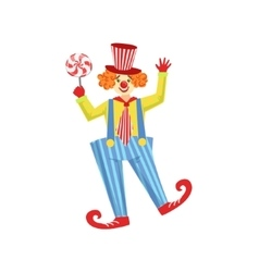 Colorful Friendly Clown With Lollypop In Classic vector image
