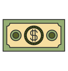 colorful silhouette of money bill vector image vector image