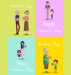 Congratulations from men to womens day flat design vector