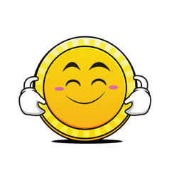 Cute smile coin cartoon character vector
