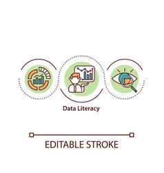 Data literacy concept icon vector