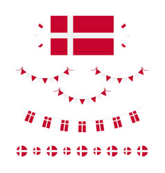 Denmark flags borders garlands set vector