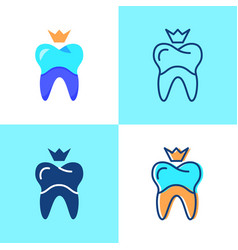 Dental crown icon set in flat and line style vector