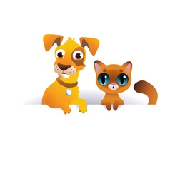Dog and Cat above white banner vector image