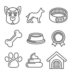 dog icons set on white background line style vector image
