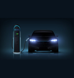 electric car charge realistic automobile charging vector image