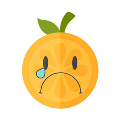 Emoji - tears crying orange isolated vector