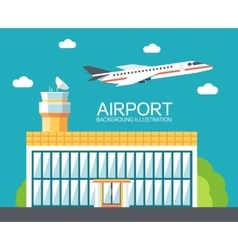 Flat building airport with flying plane tour vector