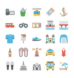 Flat icons set of travel vector