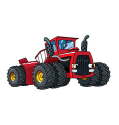 funny big tractor with eyes heavy cars vector image