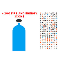 Gas cylinder icon with bonus power set vector