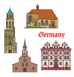 Germany landmarks architecture in bad wurttemberg vector