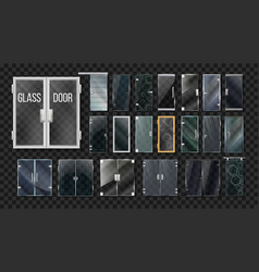 Glass doors architecture collection set vector