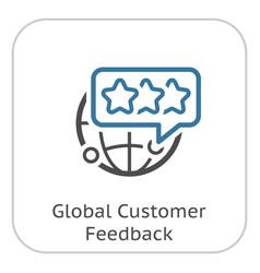 Global customer feedback line icon vector