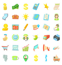 Globe business icons set cartoon style vector