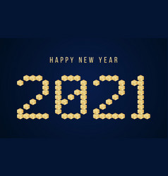 gold happy new year 2021 block typography vector image
