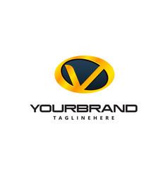 Golden letter v logo curved oval shape auto guard vector