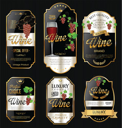 Golden wine labels retro vintage design collection vector