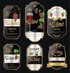 golden wine labels retro vintage design collection vector image