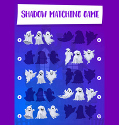 halloween game of ghost shadow matching template vector image