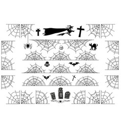 Halloween spiderweb borders and corners frame vector