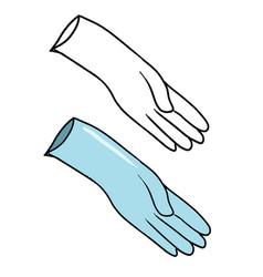 Hand drawn blue medical glove vector