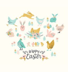 happy easter set easter chicken and vector image