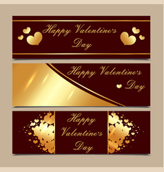 happy valentine s day luxury gold and maroon vector image