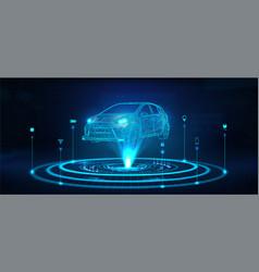 Hologram auto futuristic polygonal model auto vector