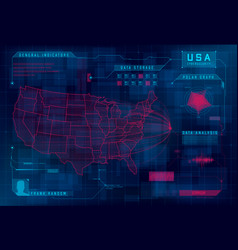 Hud map usa set hud callout design vector