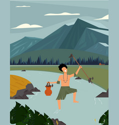 Indonesian tribe hunting in wildlife vector