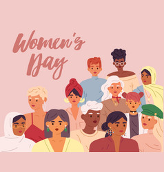 International womens day greeting card crowd vector