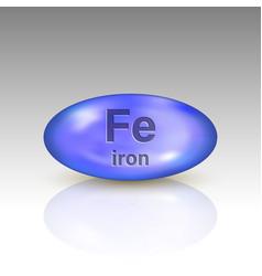 Iron icon mineral drop pill capsule vector