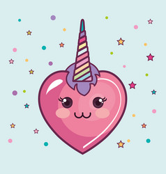 Kawaii heart design vector