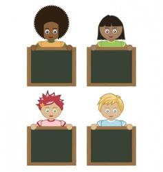 kids holding blackboards vector image
