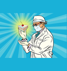 laboratory scientist analyzes a piece of cake vector image