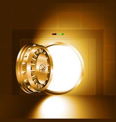 Light open door safe gold vector