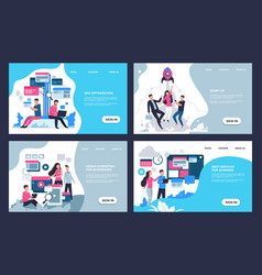 Marketing landing page modern seo and online vector