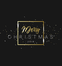 merry christmas phrase in frame with golden vector image