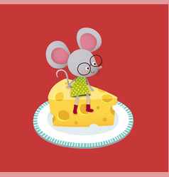 mouse sitting on a piece cheese vector image