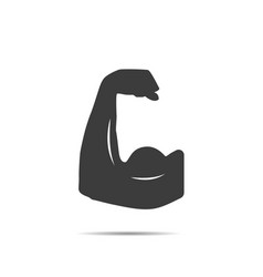 muscle icon with shadow vector image
